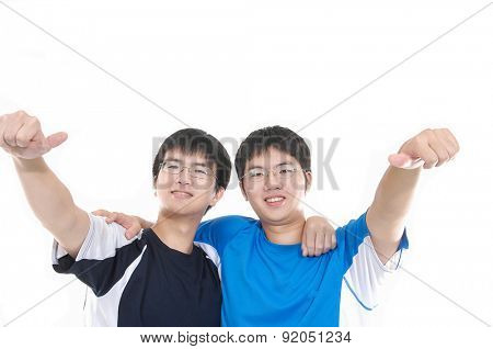 two young casual men portrait,hands fun gesture