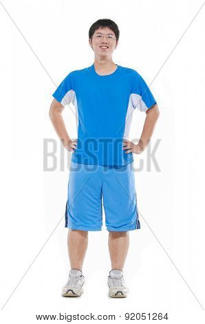 Full body young man standing-white background