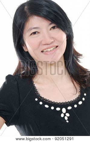 Cheerful full length portrait of middle aged female.