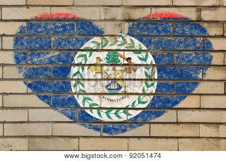 Heart Shape Flag Of Belize On Brick Wall