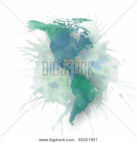 North and south America map element, abstract hand drawn watercolor background, great composition fo