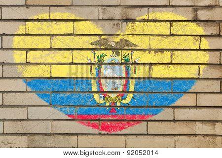 Heart Shape Flag Of Ecuador On Brick Wall