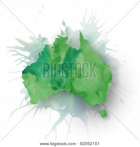 Australia map element, abstract hand drawn watercolor background, great composition for your design,