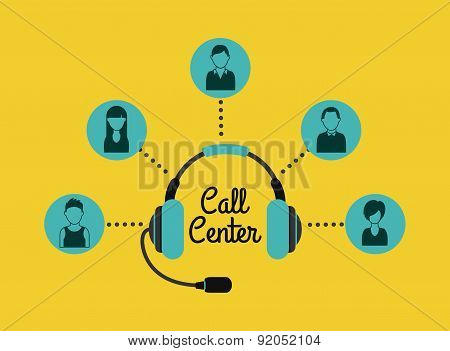 Call center design over yellow background vector illustration