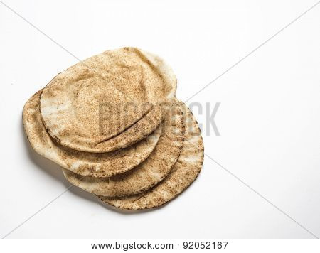 Freshly baked arabic flat bread called kuboos.