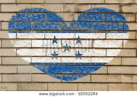 Heart Shape Flag Of Honduras On Brick Wall