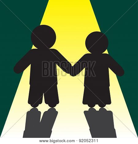 Boy And Girl Silhouettes With Shadows