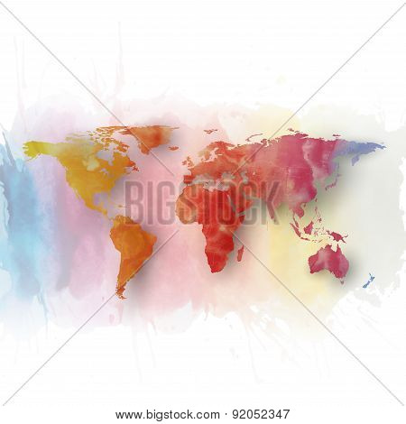 World map element, abstract hand drawn watercolor background, great composition for your design, vec