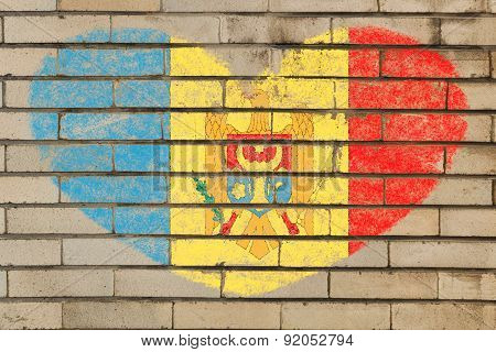 Heart Shape Flag Of Moldova On Brick Wall