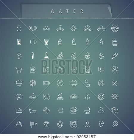 Water Thin Icons Set