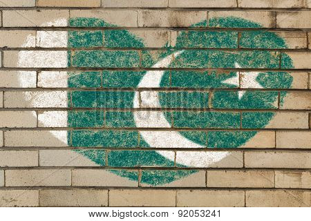 Heart Shape Flag Of Pakistan On Brick Wall