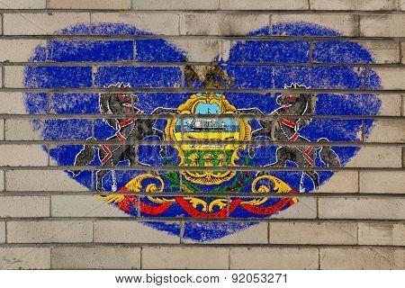 Heart Shape Flag Of Pennsylvania On Brick Wall