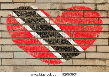 Heart Shape Flag Of Trinidad And Tobago On Brick Wall