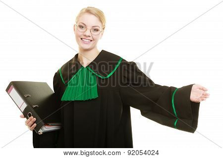 Woman Lawyer With File Folder Or Dossier