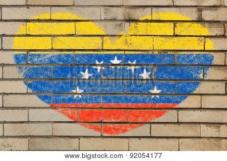 Heart Shape Flag Of Venezuela On Brick Wall
