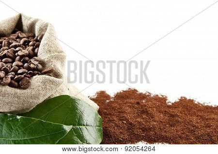 Sack Full Of Coffee Beans With Green Leaf Backdrop