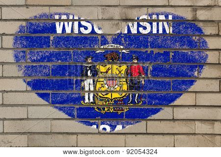 Heart Shape Flag Of Wisconsin On Brick Wall