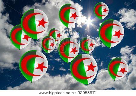 Many Balloons With Algeria Flag On Sky