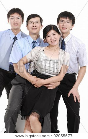 Happy family business team on white background