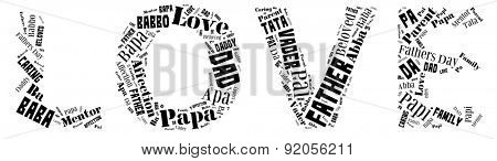 Word Cloud for Father's day that includes the word father in different languages in letters that spell love