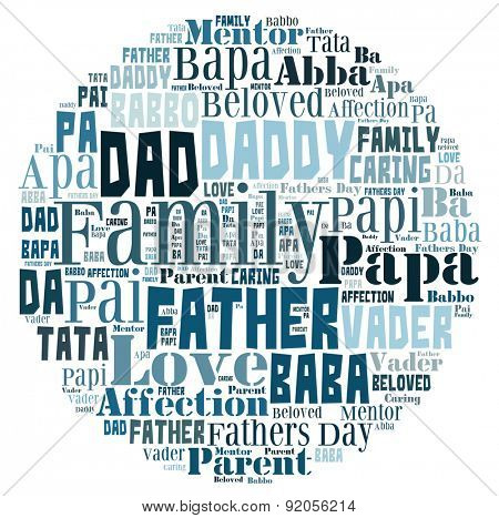 Word Cloud for Father's day that includes the word father in different languages in letters in a shape that represents the world.