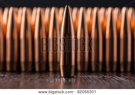 Macro shot of copper bullets