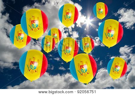 Many Balloons With Moldova Flag On Sky