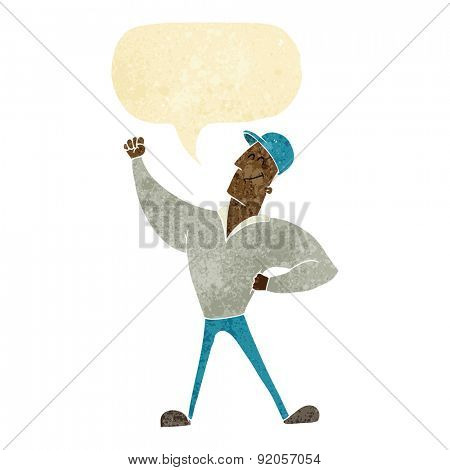 cartoon man striking heroic pose with speech bubble