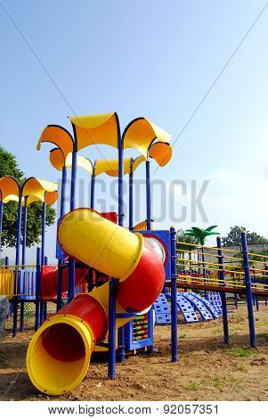 Modern colorful playground without children ground outdoor