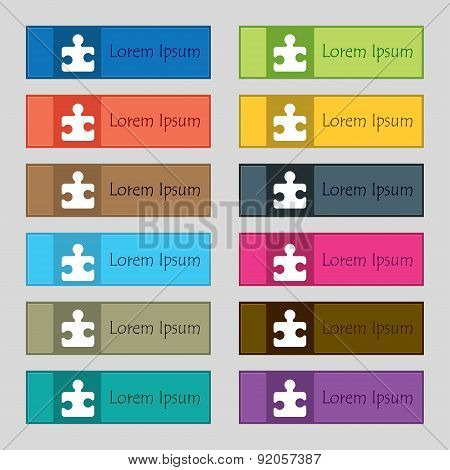 Puzzle Piece Icon Sign. Set Of Twelve Rectangular, Colorful, Beautiful, High-quality Buttons For The