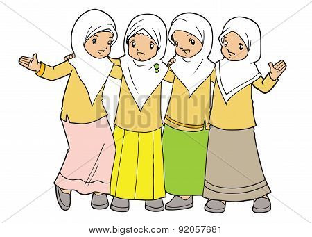Group of muslim girls wearing hijab