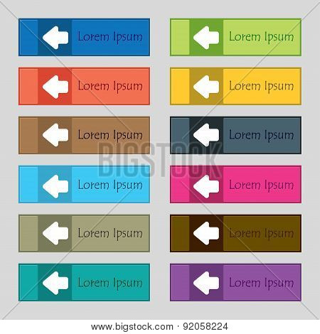 Arrow Left, Way Out Icon Sign. Set Of Twelve Rectangular, Colorful, Beautiful, High-quality Buttons