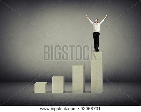 happy woman winner standing on top of concrete diagram over dark grey diagram