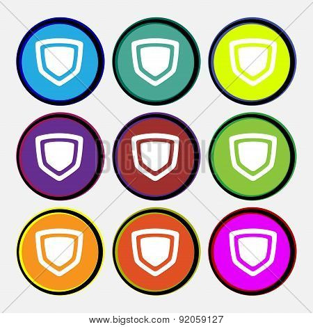 Shield Icon Sign. Nine Multi-colored Round Buttons. Vector