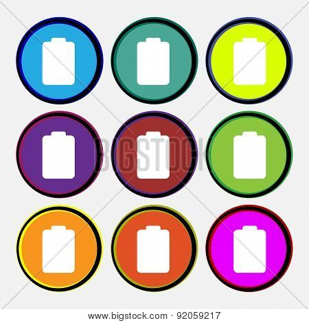 Battery Empty, Low Electricity Icon Sign. Nine Multi-colored Round Buttons. Vector