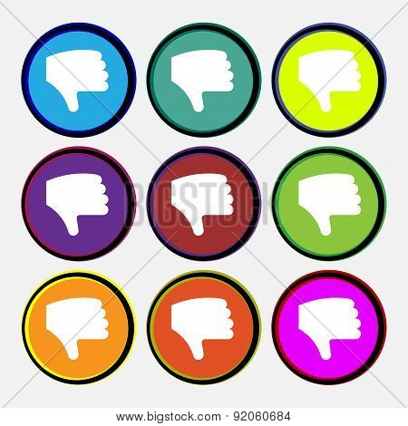 Dislike, Thumb Down, Hand Finger Down Icon Sign. Nine Multi-colored Round Buttons. Vector