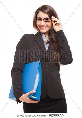 Businesswoman holding a document binder