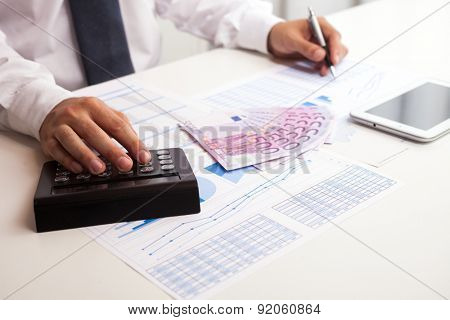 Business accountant checking documents