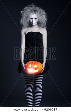 Ghost With Orange Pumpkin