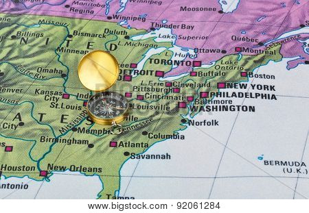 USA map and compass - travel background