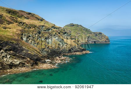 Cliffs Jutting Into The Ocean Near Tintagel Cornwall