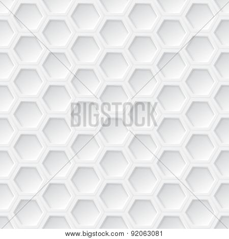 White 3D Hexagon Seamless Pattern