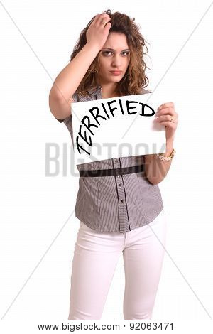 Uncomfortable Woman Holding Paper With Terrified Text