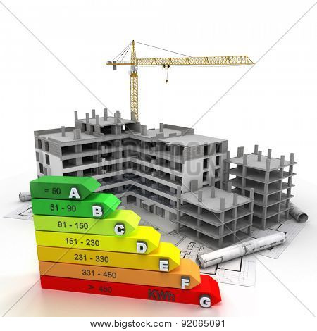 3D rendering of a building in construction , with a crane and an energy efficiency rating chart
