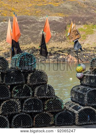 Lobster Pots Or Traps On Harbour Wall In Boscastle