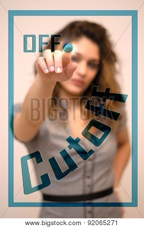 Woman Turning Off Cutoff On Panel