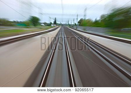 Railway tracks with high speed motion blur