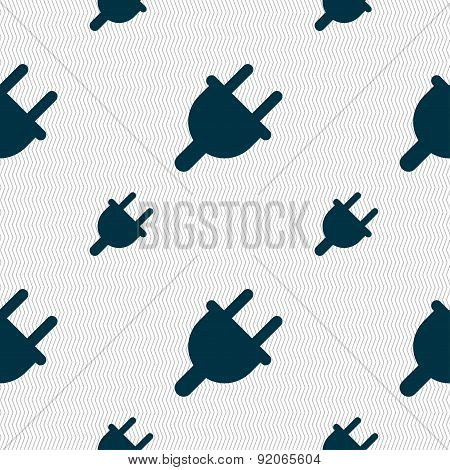Electric Plug, Power Energy Icon Sign. Seamless Pattern With Geometric Texture. Vector