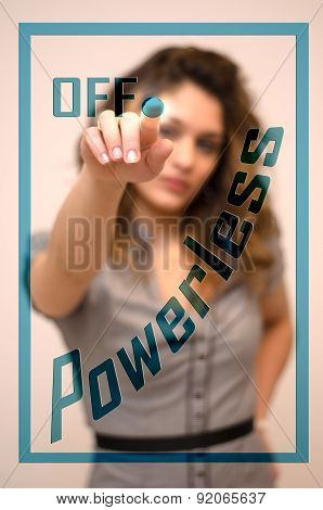 Woman Turning Off Powerless On Panel