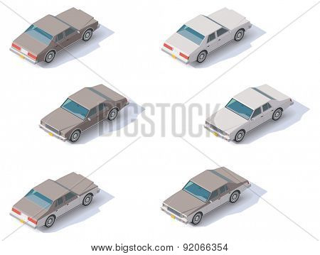 Set of the isometric cars with front and rear views